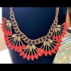 Stella & Dot Orange Flower Necklace